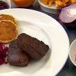 Thumbnail for Spiced Venison, Sweetcorn Pancakes, Cabbage and Wild Mushrooms
