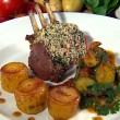 Thumbnail for Roast Rack of Lamb with Herb Crust, Courgettes, Tomatoes and Mini Fondant Potatoes
